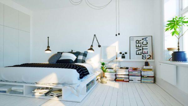 Nowoczesna sypialnia zaprojektowana przez firmę Smart Design. Łóżko wykonane z pomalowanych na biało palet euro.