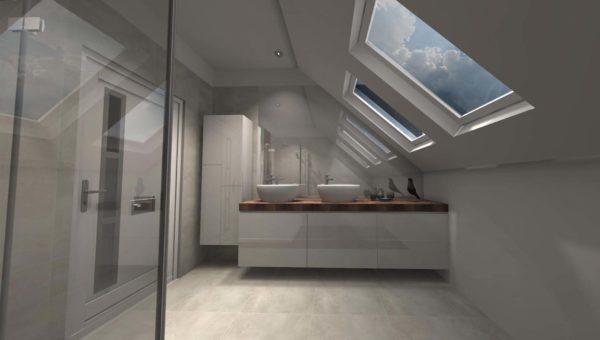 Meble do łazienki wykonane w Smart Design. Fronty lakierowane wysoki połysk.