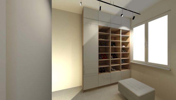 Garderoba pod wymiar daje więcej miejsca niż szafa wnękowa. Realizacja projektu w mieście Bydgoszcz.