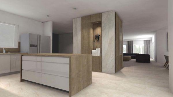 Projekt kuchni na wymiar w dużym domu jednorodzinnym. W stylu nowoczesnym. Projekt wykonany przez firmę Smart Design.