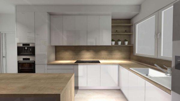 Nowoczesna kuchnia pod wymiar zaprojektowana przez firmę Smart Design. Białe lakierowane fronty idealnie wpasowują się w nowoczesny design kuchni.