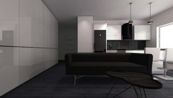 Projektant wnętrz Sara Tokarczyk wykonała i zaprojektowała szafy wnękowe Bydgoszcz. Fronty białe lakierowane.