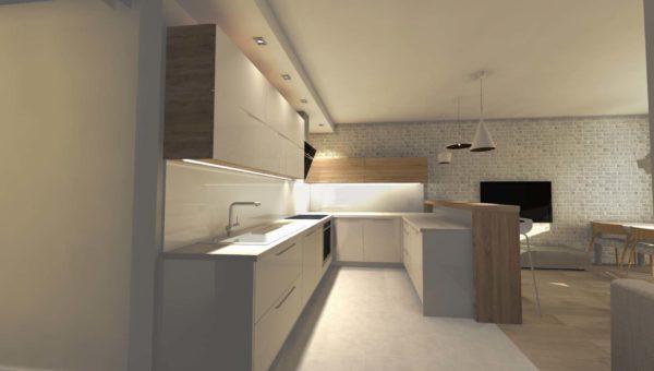Biała kuchnia z lakierowanymi frontami w nowoczesnym mieszkaniu w bloku. Kawalerka dla singla zaprojektowana przez Sarę Tokarczyk.