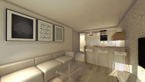 Projektant wnętrz Sara Tokarczyk wykonała projekt nowoczesnego mieszkania w apartamencie.